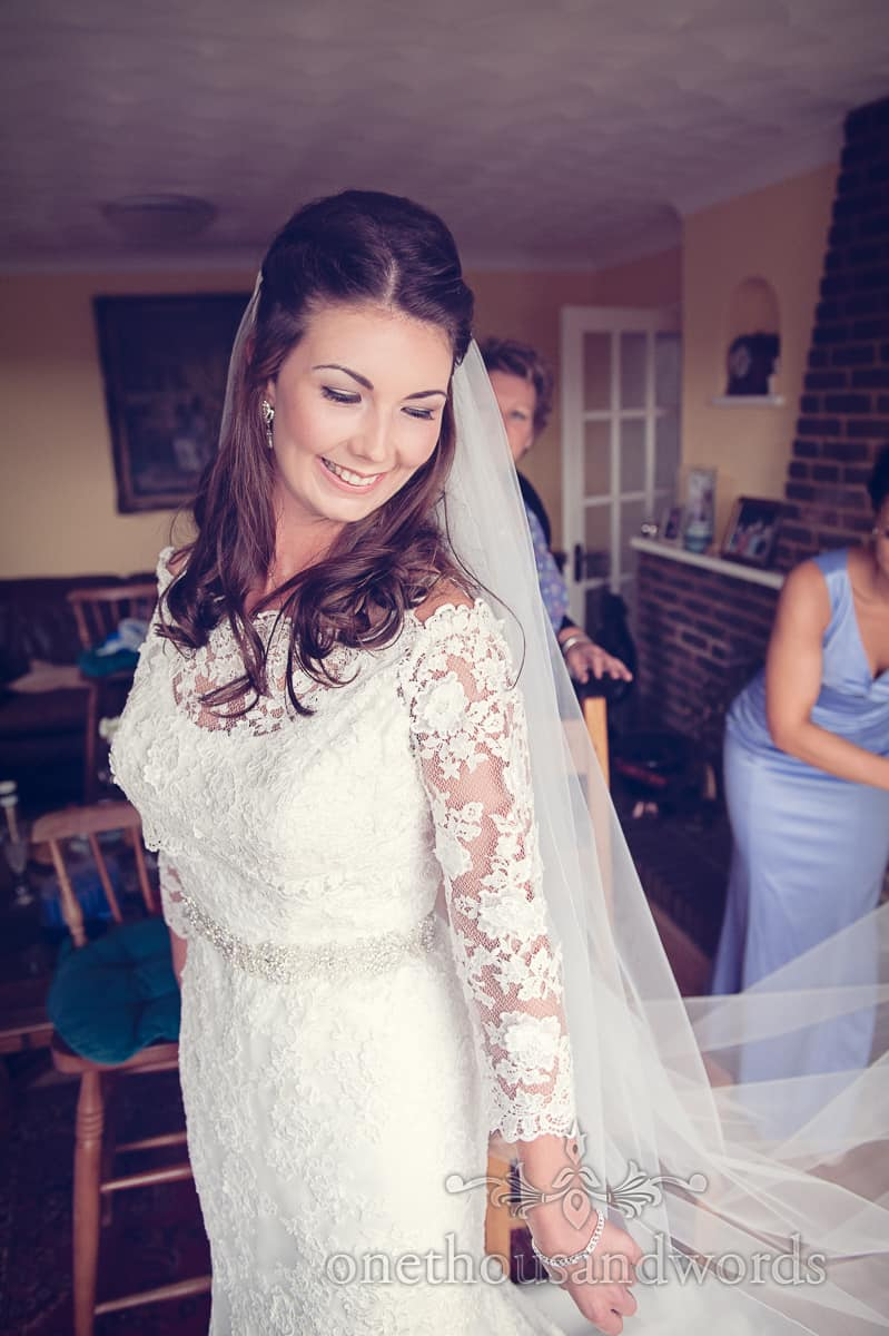 Sherborne bride in long sleeve wedding dress