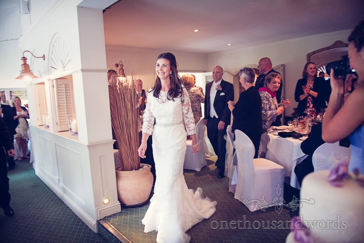 Bride and groom announced into Eastbury Hotel Sherborne wedding breakfast