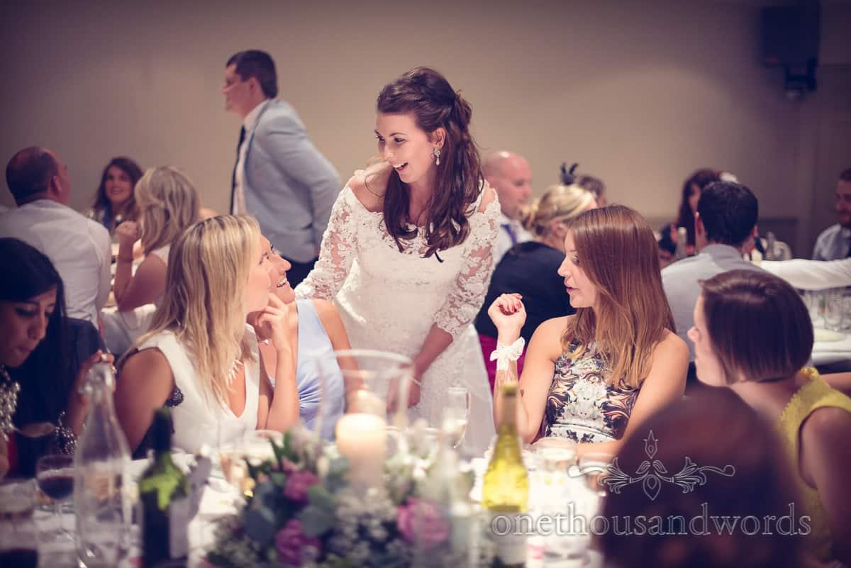 Bride entertains guests at Eastbury Hotel wedding