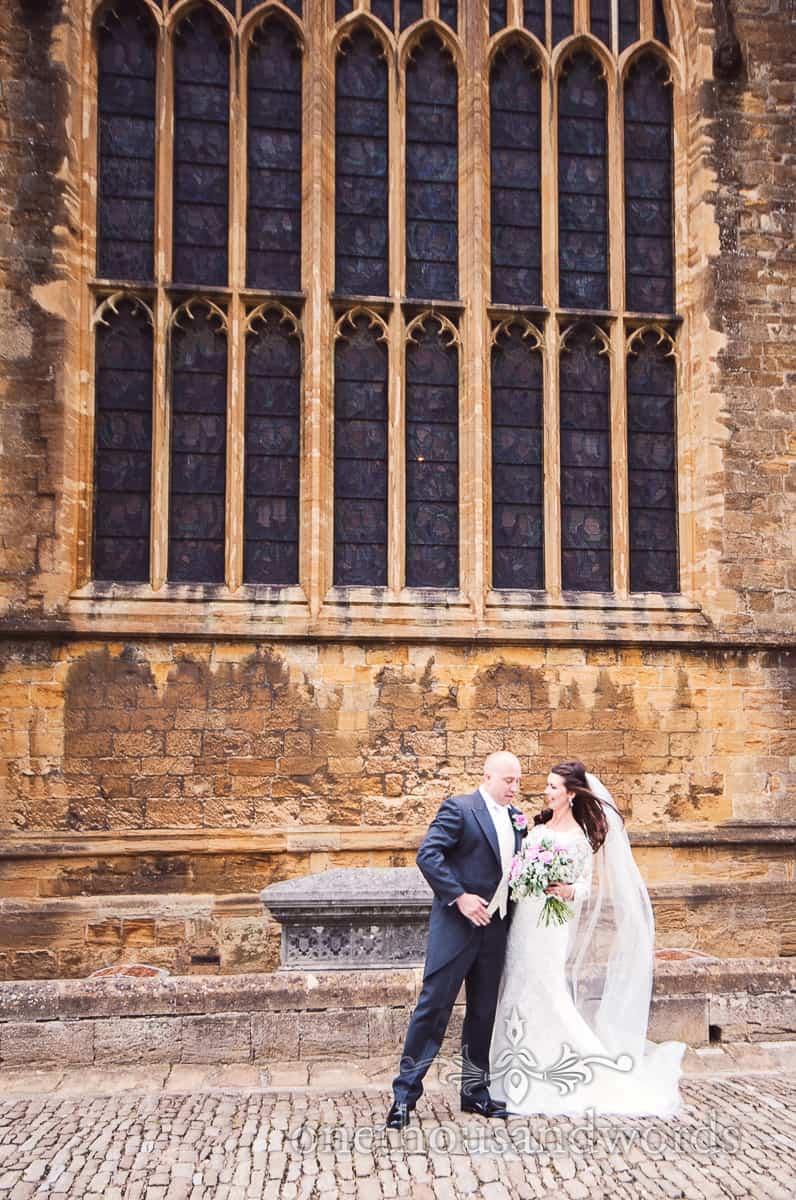sherborne wedding photographs outside Sherborne Abbey