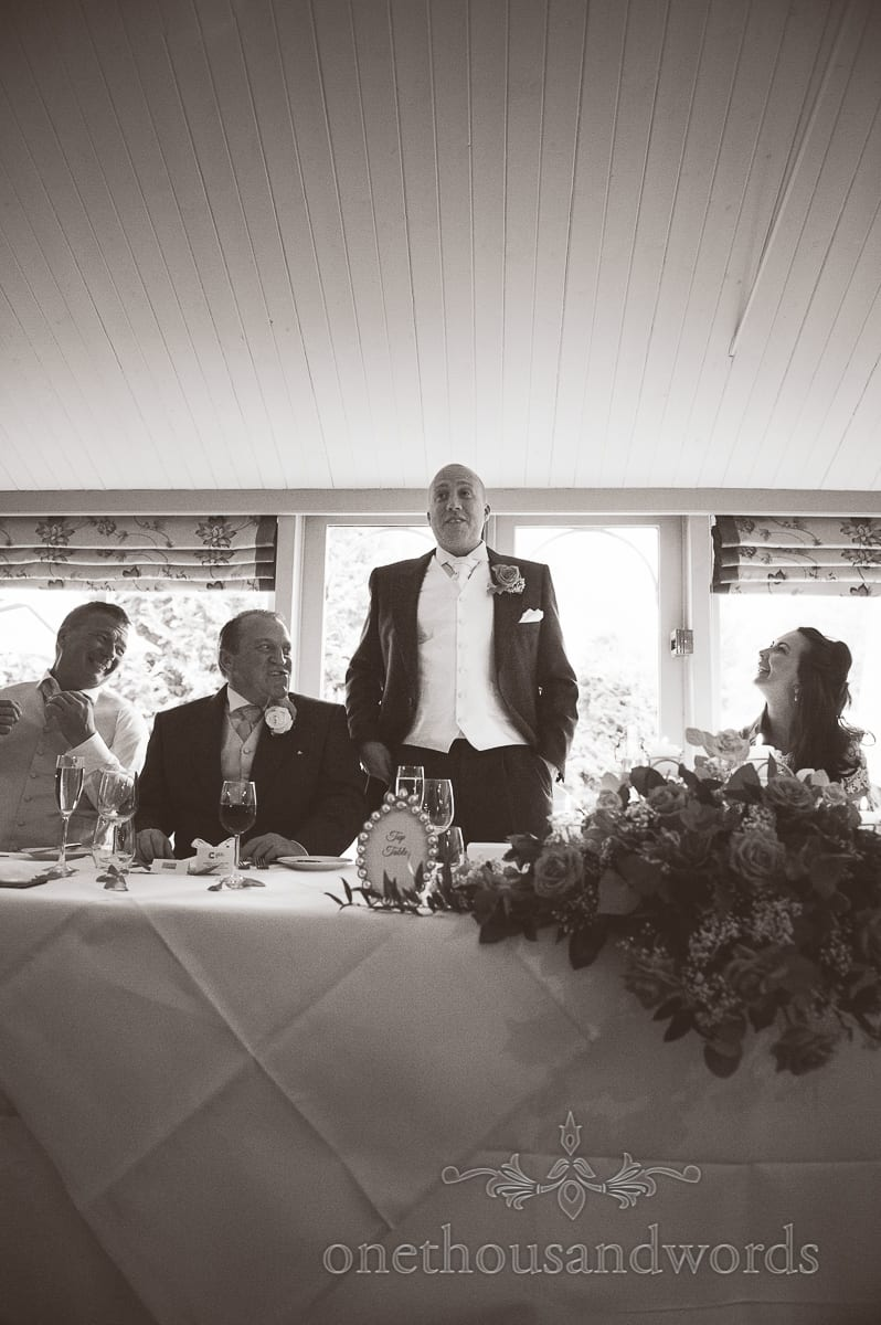 Black adn white photo of Grooms speech at Eastbury Hotel