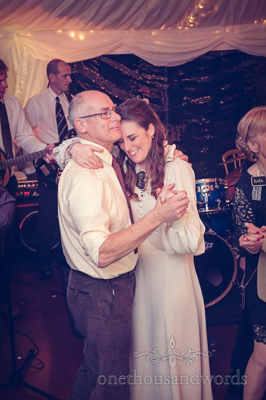 Bride and father dance at California Farm Wedding