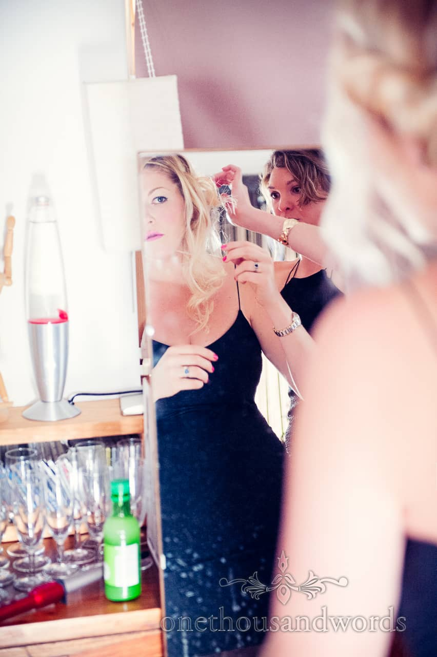 Bridesmaids hair styling on morning of Purbeck wedding
