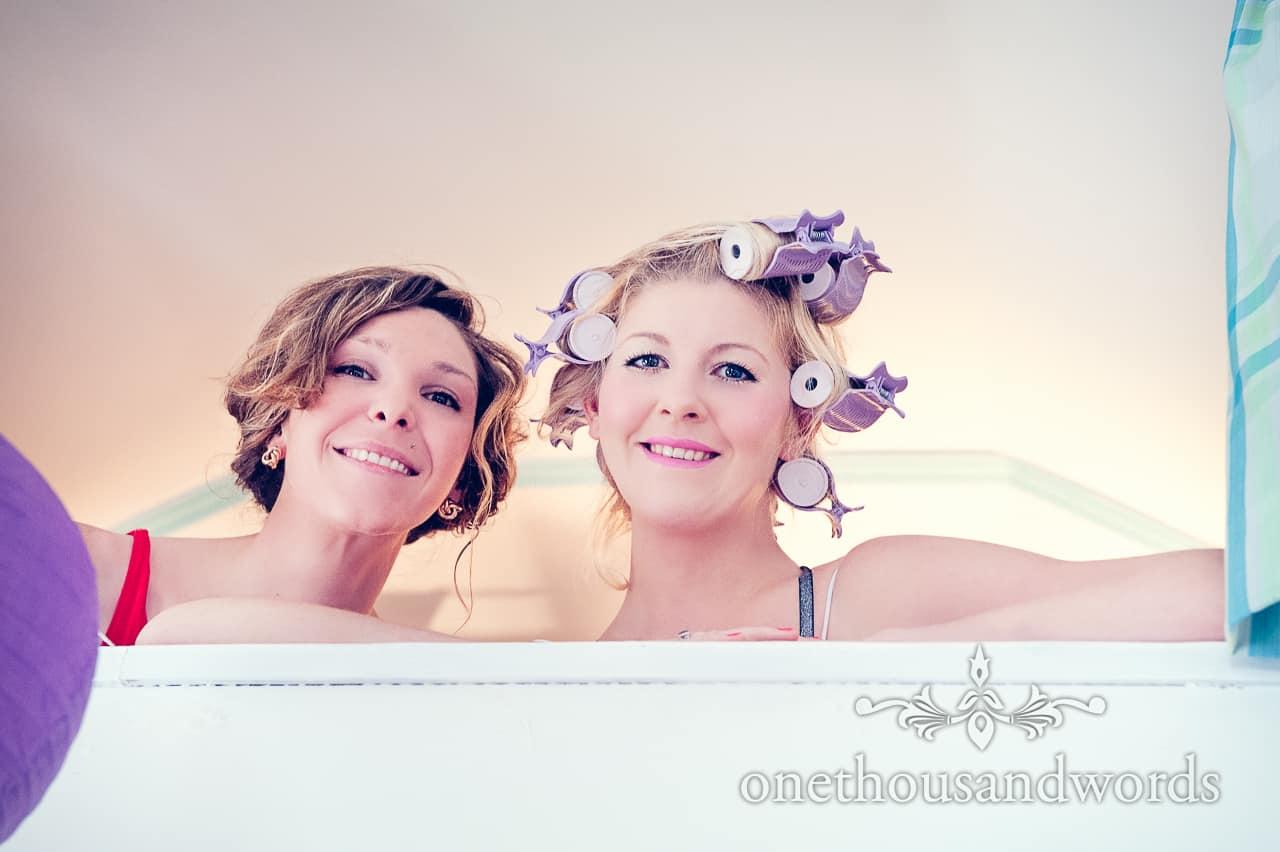 Bridesmaids preparing on Purbeck wedding morning