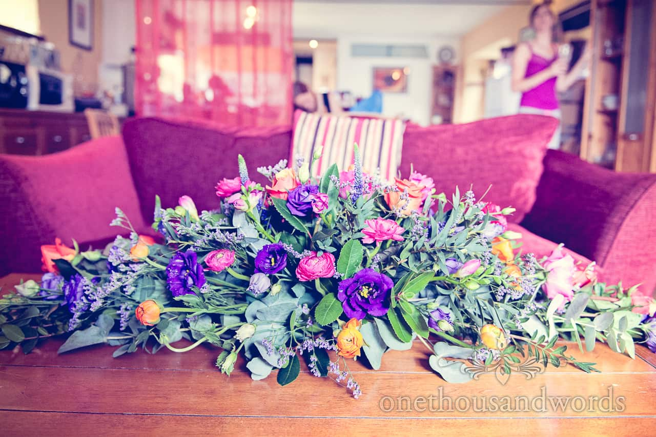 Bright coulourful flowers on morning of Purbeck wedding