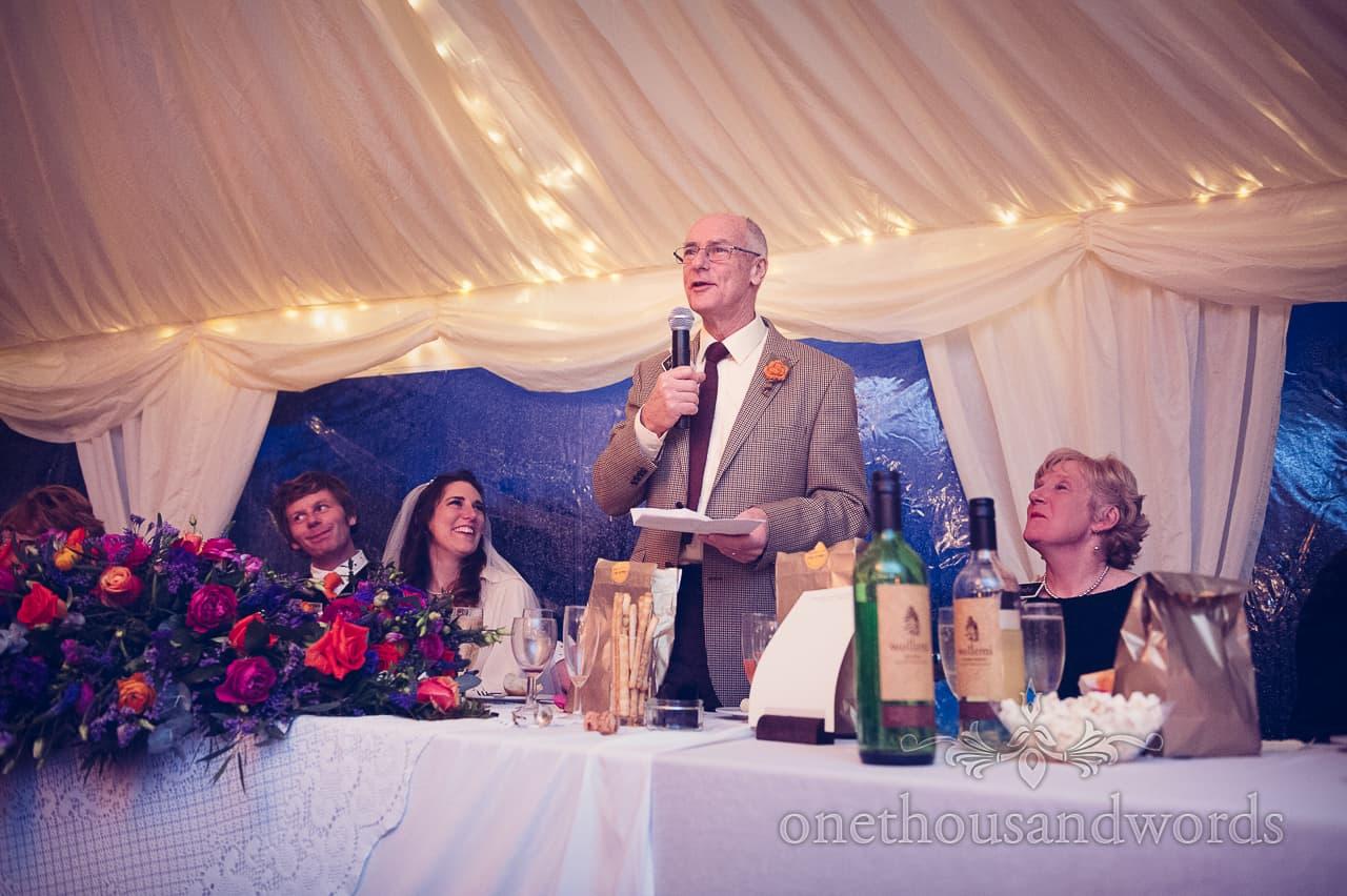 Father of the bride wedding speech at California Farm reception
