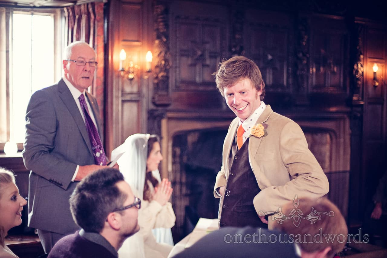 Groom during wedding ceremony at Mortons House Hotel
