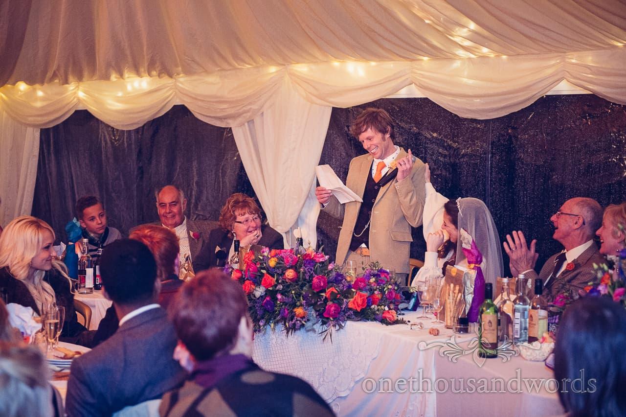 Grooms speech at California Farm Wedding reception
