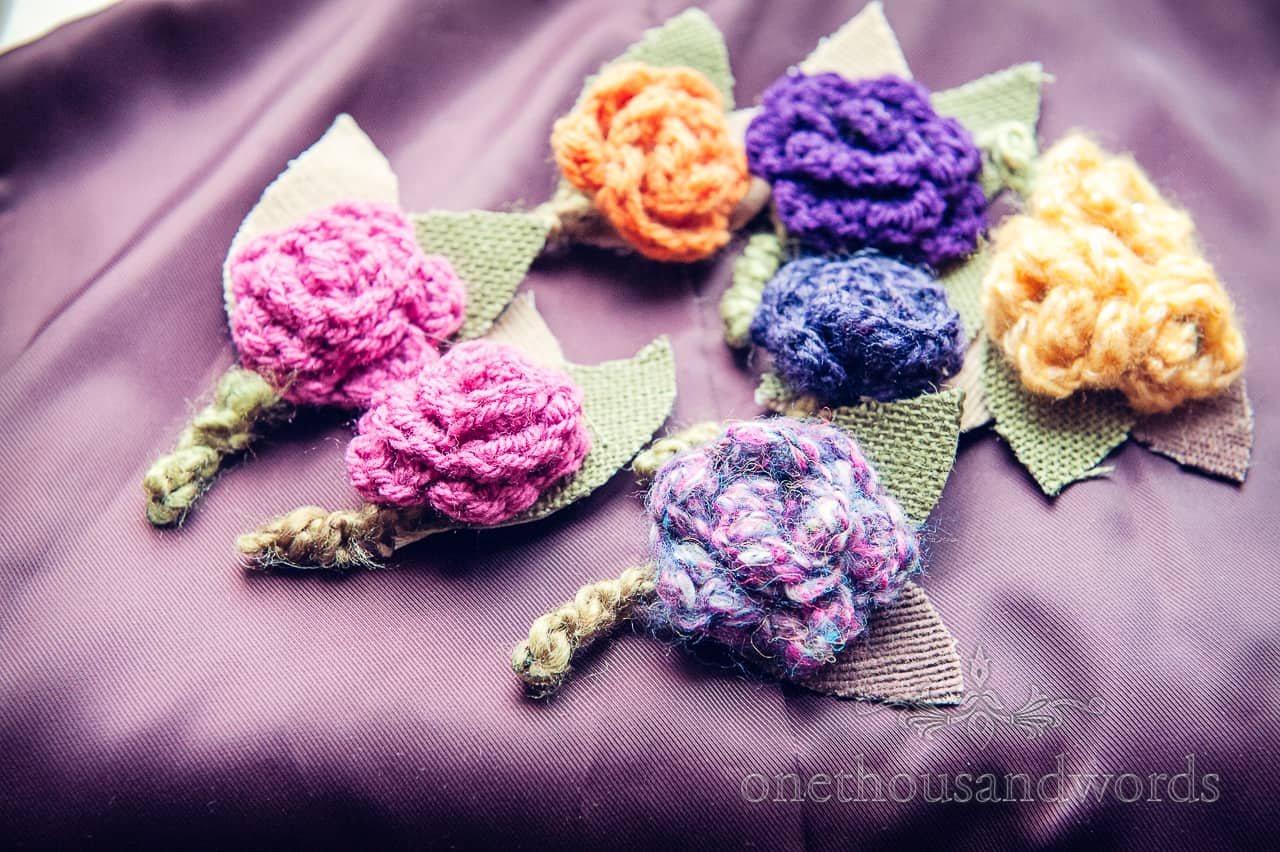 Knitted wedding buttonholes from Purbeck hotel wedding