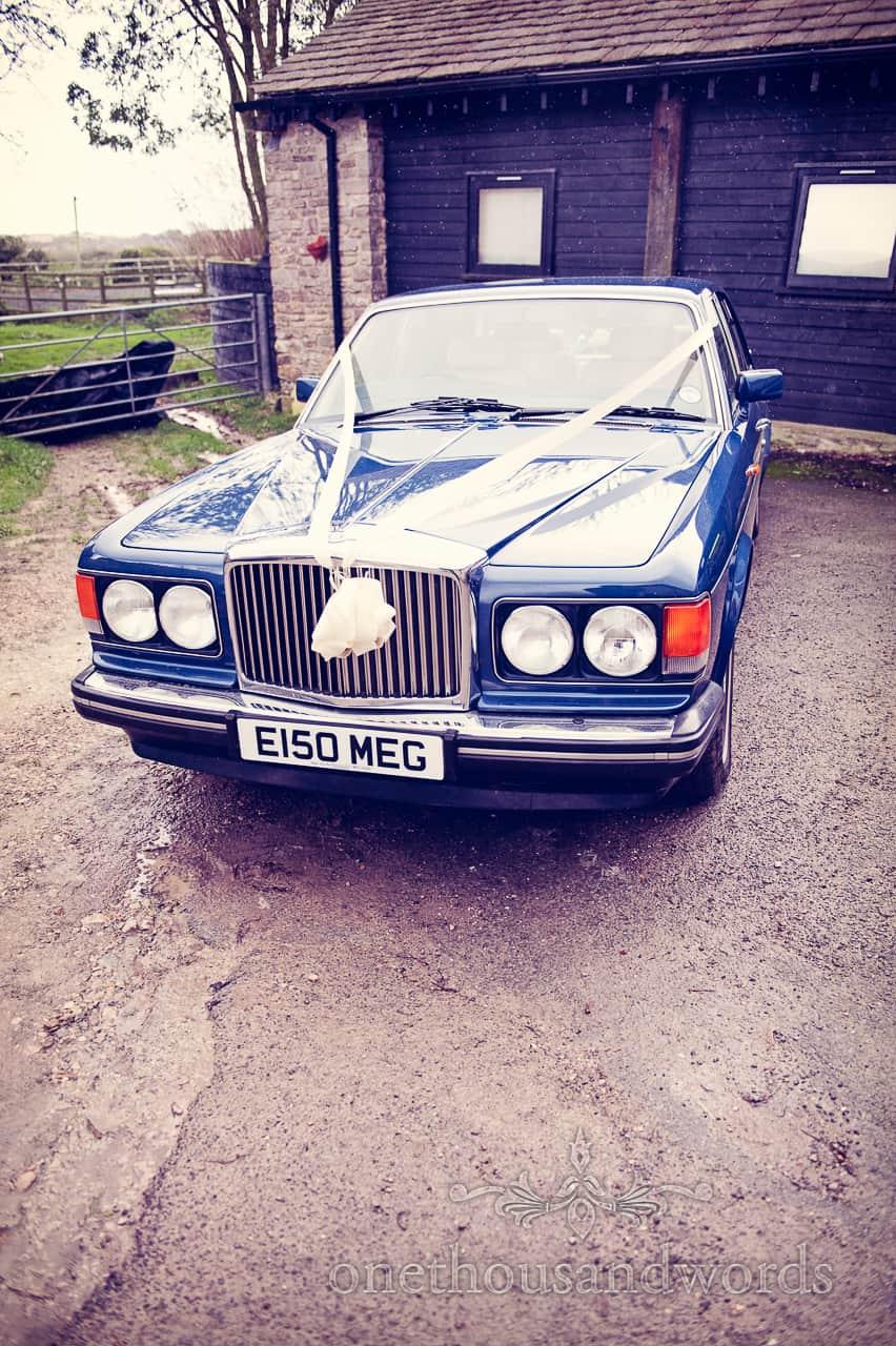 Rolls Royce wedding car on morning of Purbeck wedding