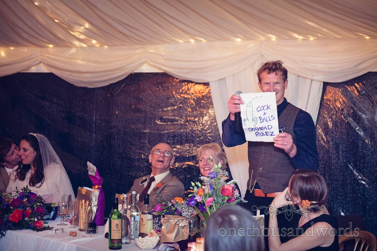 Rude best man's speech during California farm wedding reception