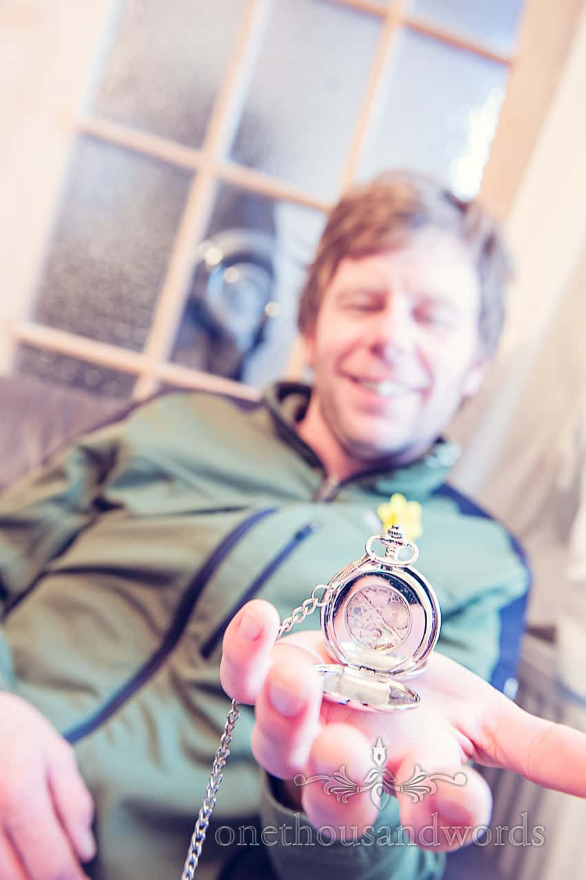 Wedding gift pocket watch from morning of Purbeck wedding