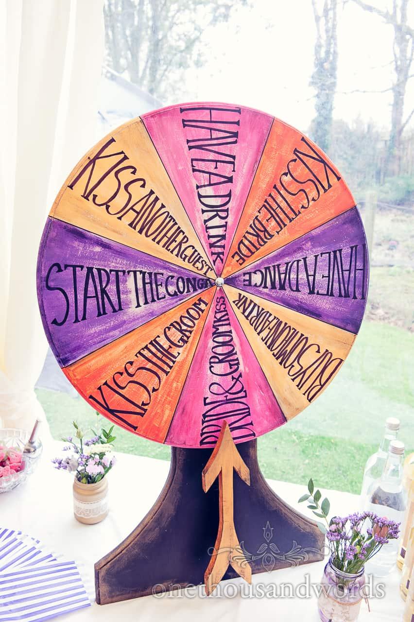 Wedding spin the wheel at California farm reception