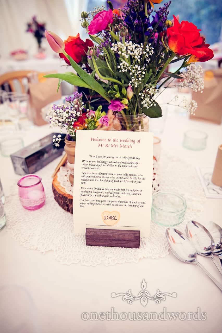 Wedding table greeting at California farm reception
