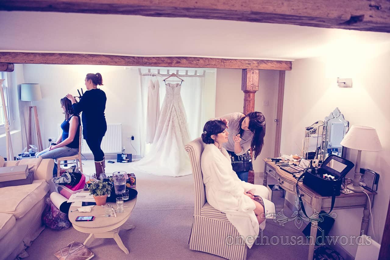 Sopley Mill Wedding preparations photographs by one thousand words wedding photographers