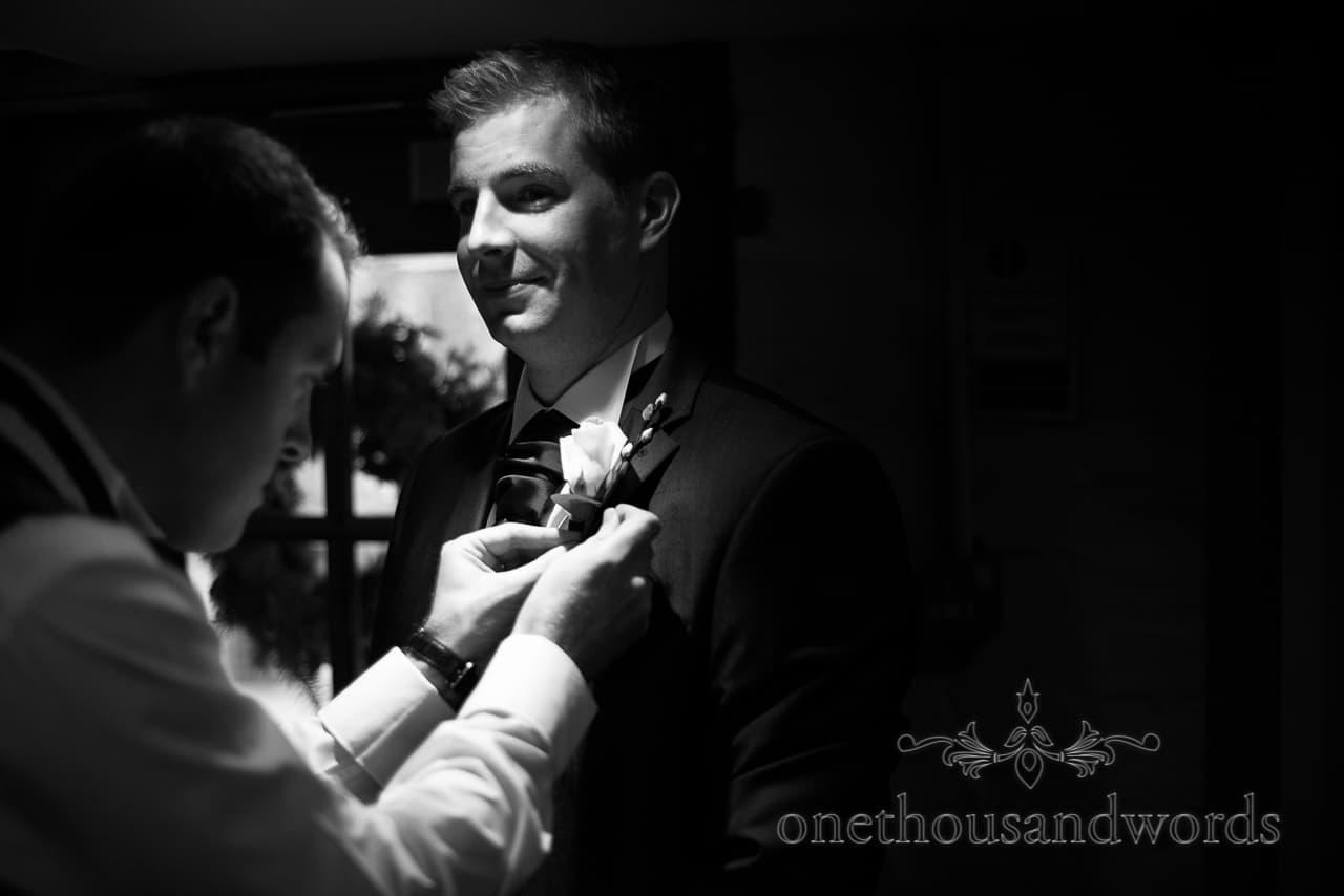Sopley Mill Wedding groom preparations