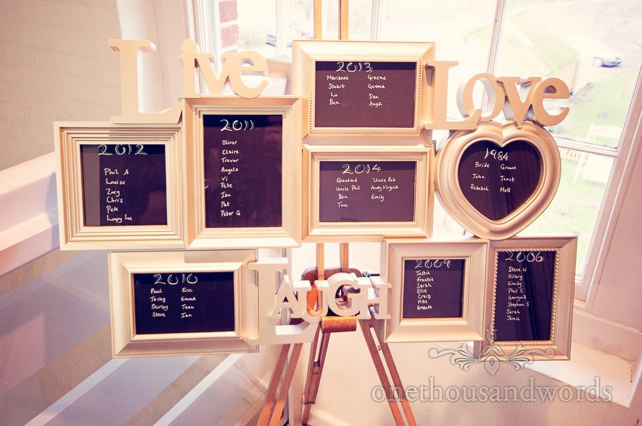 Sopley Mill Wedding table plan
