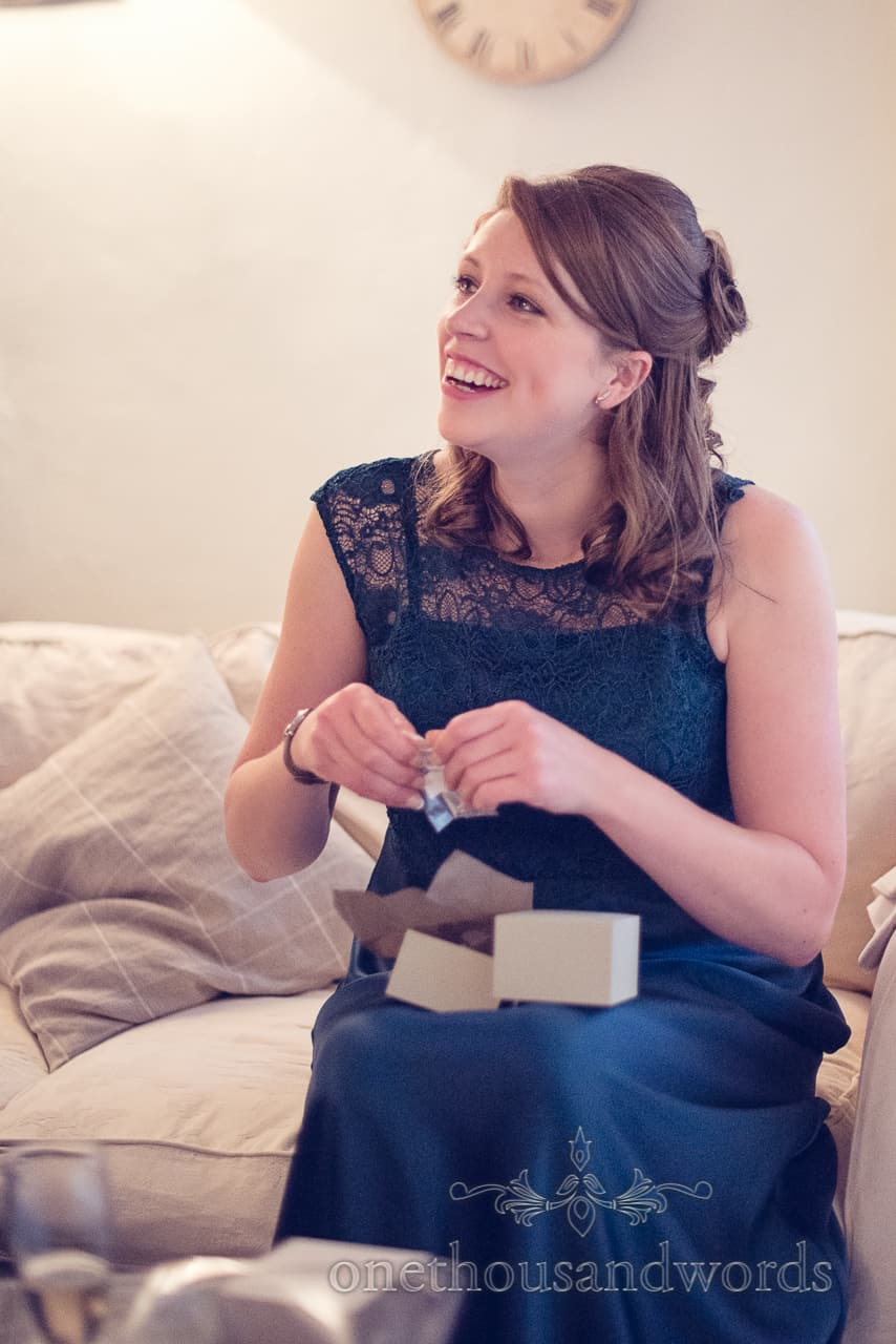 Bridesmaid in green at Sopley Mill Wedding