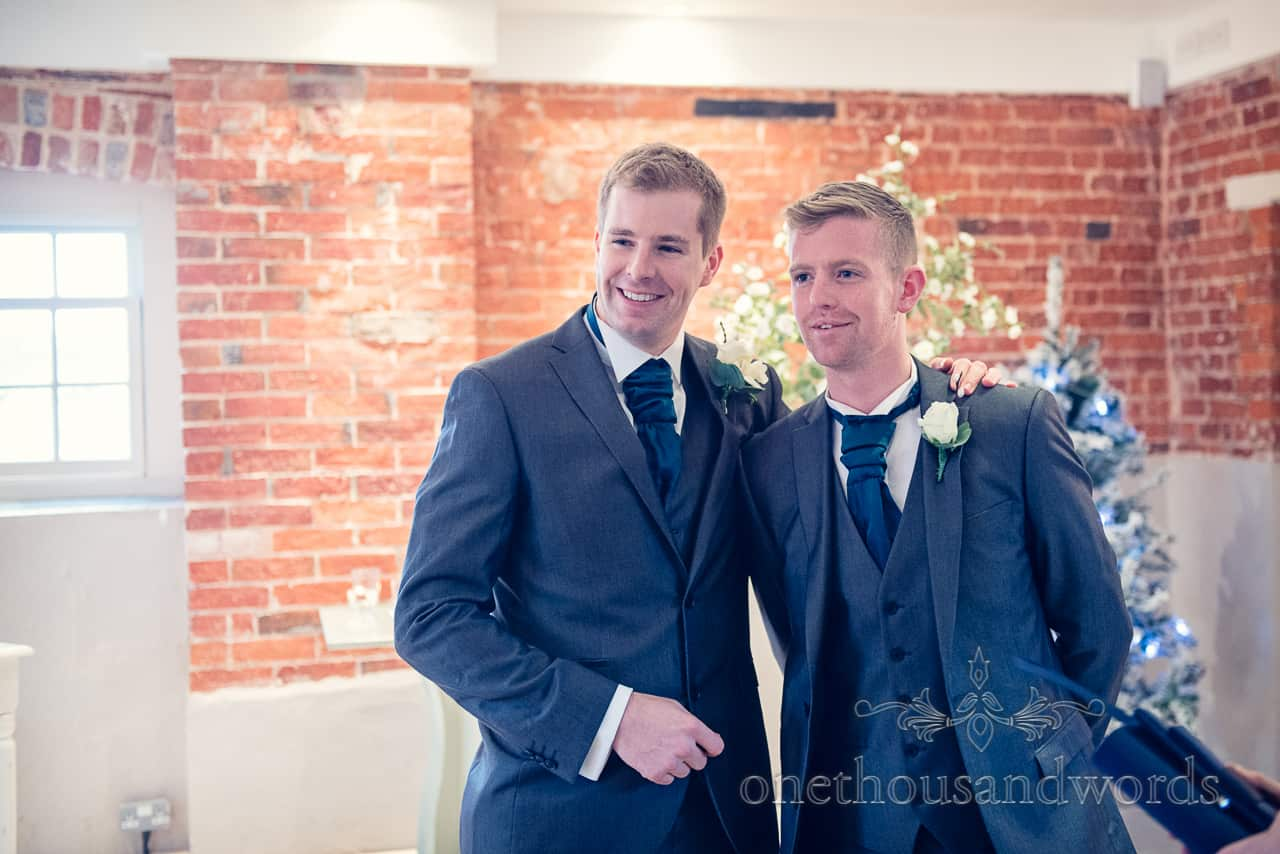 Groom and best man at Sopley Mill Wedding