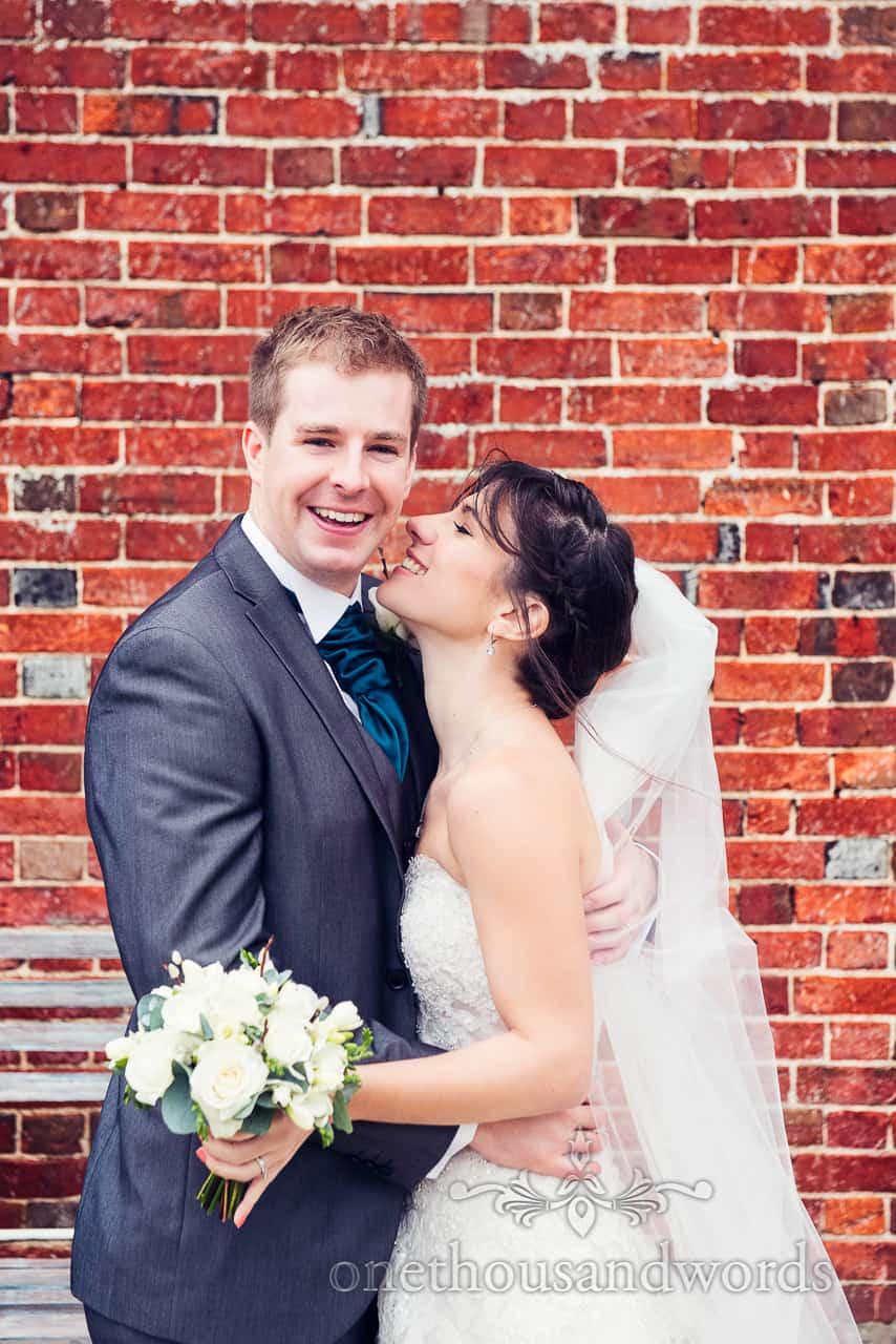 Bride and groom at Sopley Mill Wedding