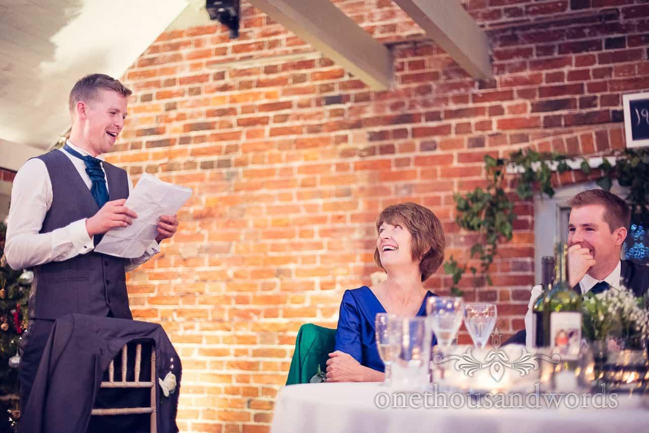 Best mans speech at Sopley Mill Wedding