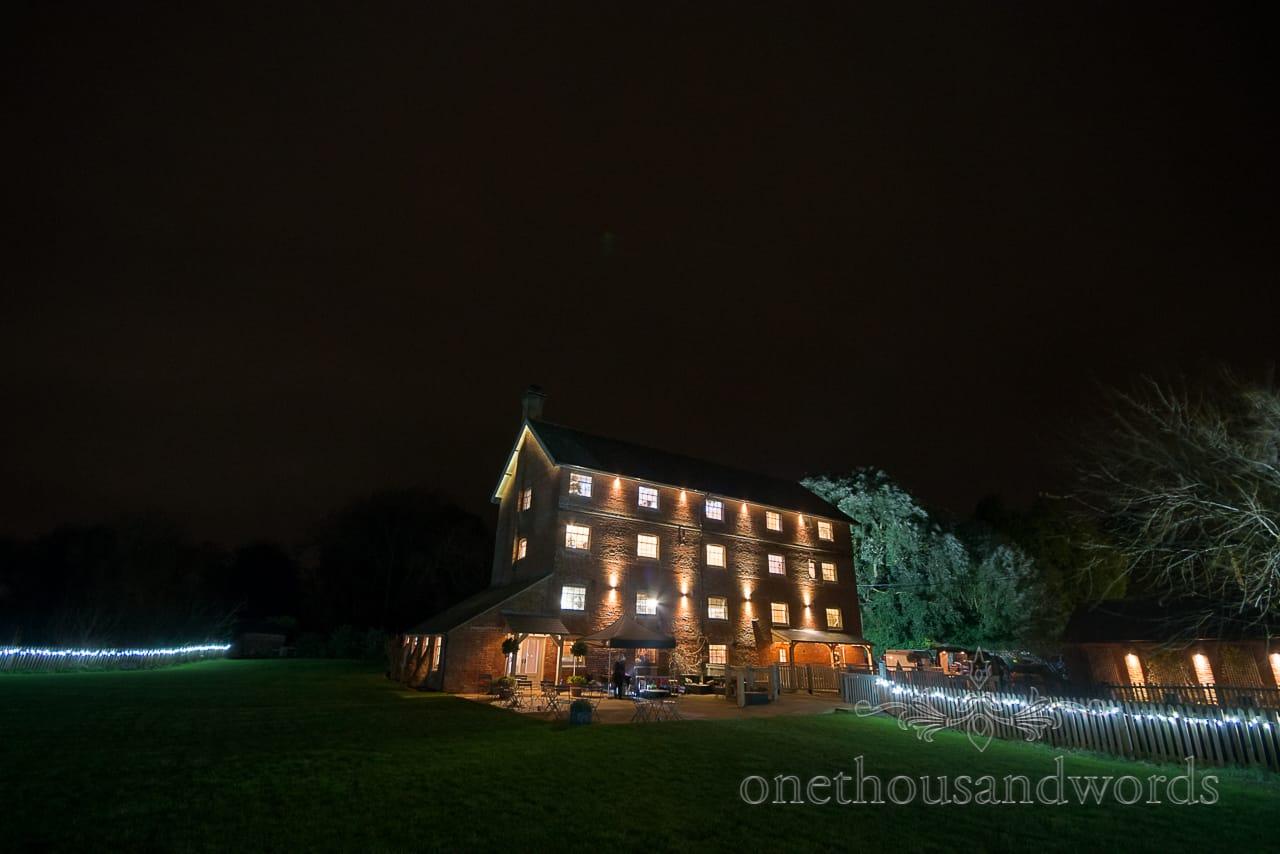Sopley Mill Wedding venue at night