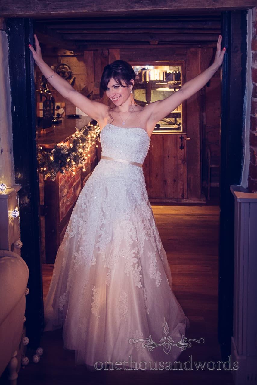 Bride poses at Sopley Mill Wedding