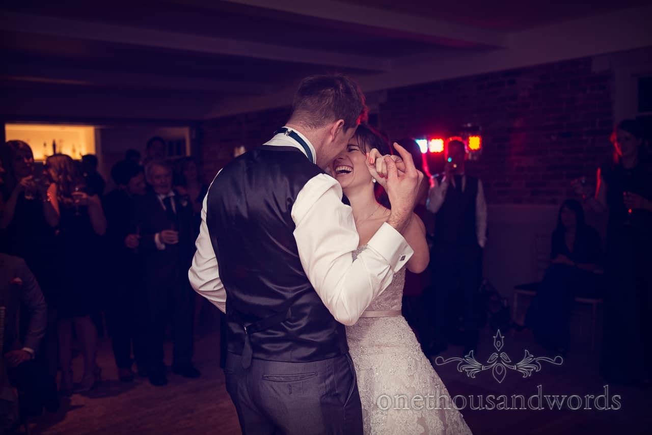 Bride and groom dance at Sopley Mill Wedding