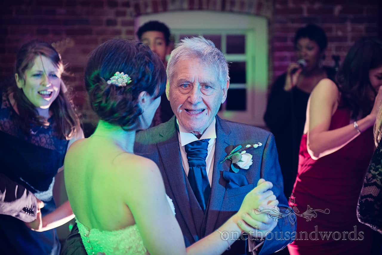 Father of the bride dancing at Sopley Mill Wedding