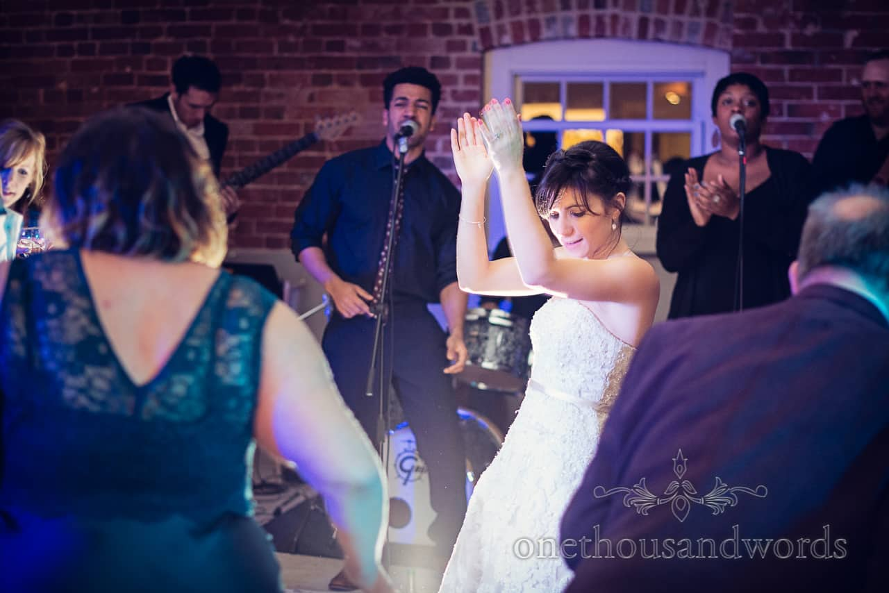 Bride dances at Sopley Mill Wedding