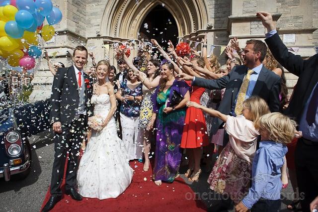 Bournemouth wedding confetti photograph