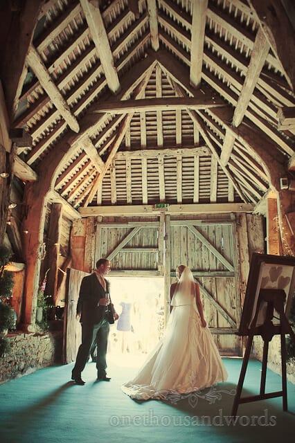 Barn wedding photographs at Stockbridge in Dorset