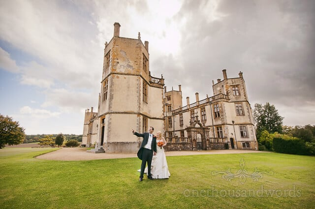 Sherborne Castle wedding photographs of bride and groom