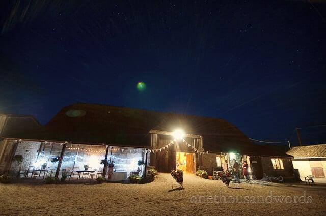 Stockbridge farm barn wedding photographs at night