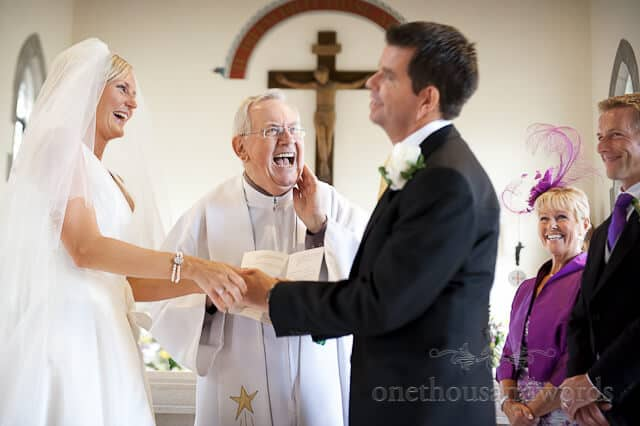 church wedding ceremony laughter
