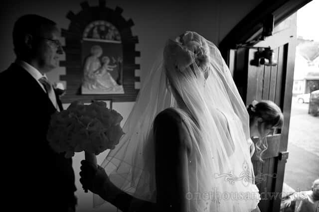 black and white bride photograph at church