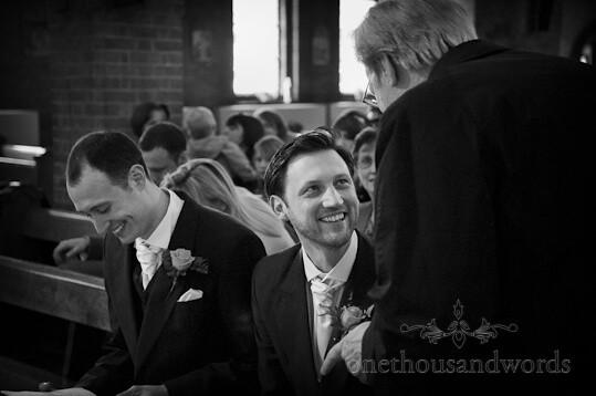 black white groom church wedding