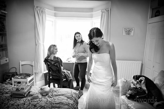 black white wedding morning photograph