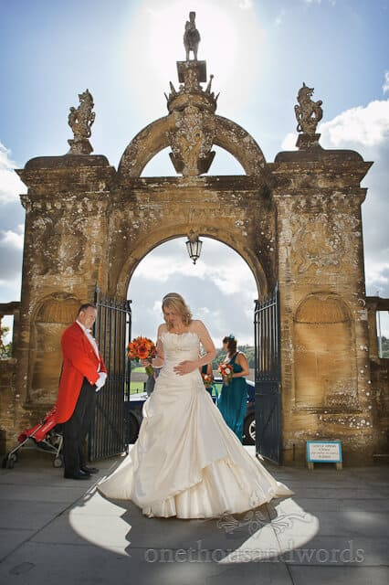 Bride arrives at Sherborne Castle wedding photographs