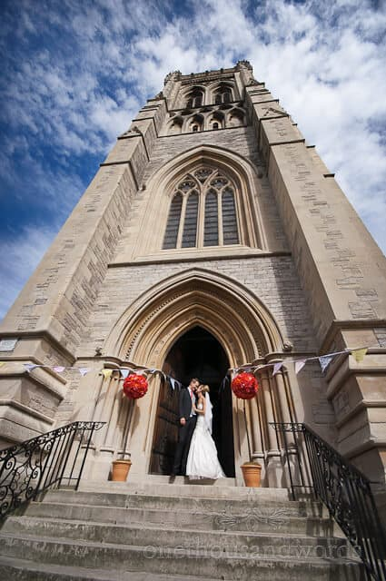 bride and groom at St Peters Bournemouth wedding photography