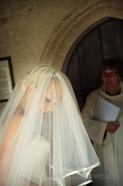 bride at countryside church