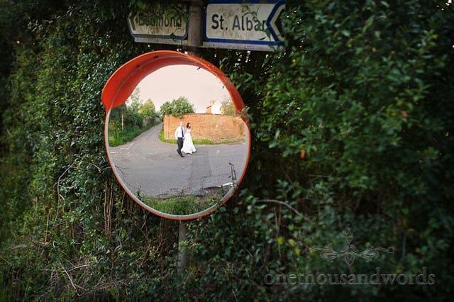 bride groom in mirror