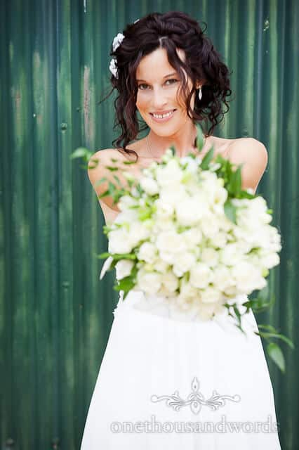 bride portrait by wedding photographer wimborne