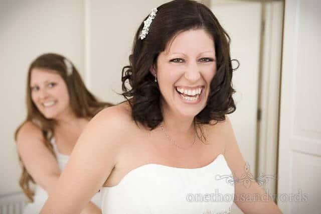 bride preparations at countryside wedding