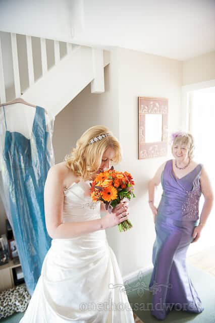 orange wedding flowers in Sherborne Castle Wedding Photographs