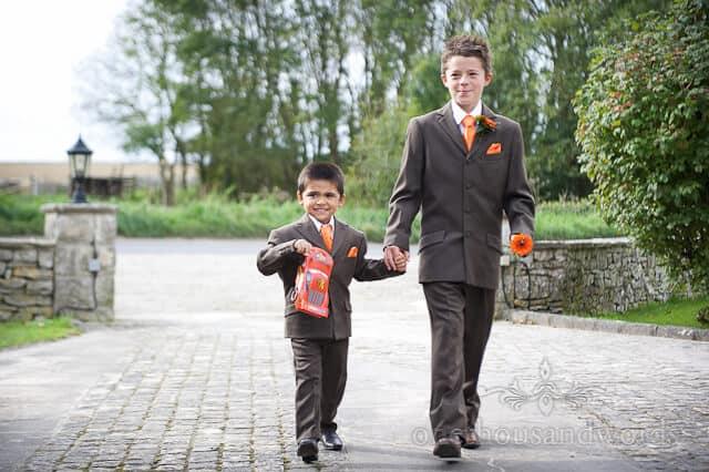 brown orange page boy suits