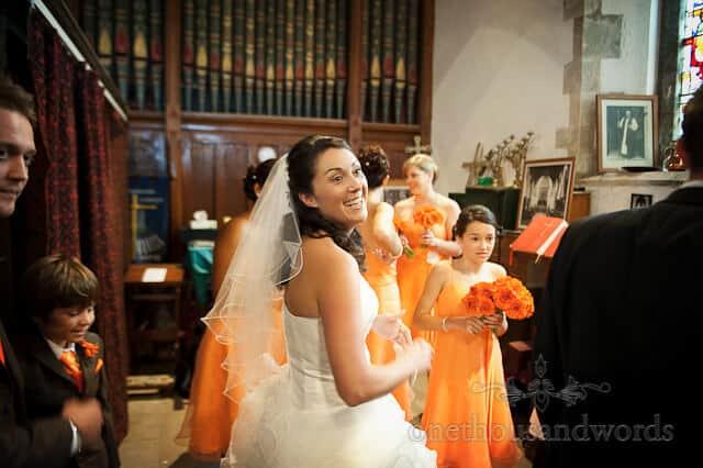 orange themed wedding bride corfe