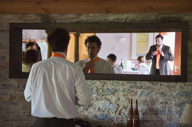 groom orange wedding ties at Chocolate orange wedding
