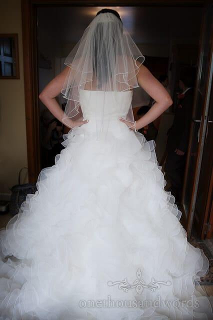 ruffled wedding dress at chocolate orange wedding