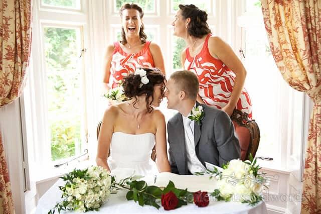 wedding kiss at Wimborne civil ceremony